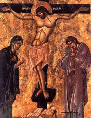 An old painting of Christ's Crucifixion.
