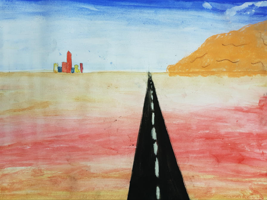 road painting by school student