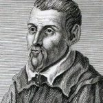 An old black and white sketch of a man of a man with a goatee wearing robes.
