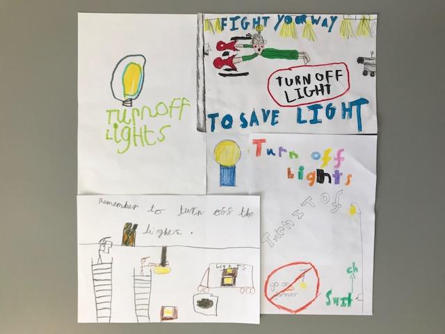 school children's turn off the lights artwork